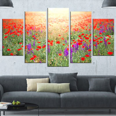 Designart Expansive Poppy Field At Sunset Floral Wrapped Canvas Art Print - 5 Panels