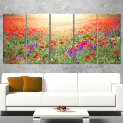 Designart Expansive Poppy Field At Sunset Floral Canvas ArtPrint - 5 Panels