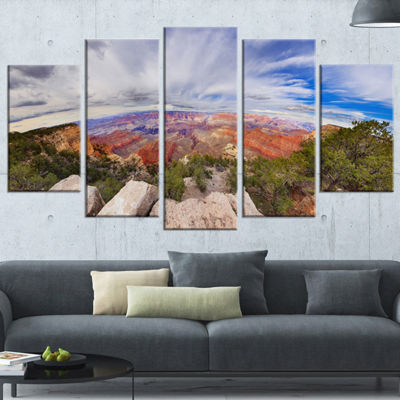 Designart Eye Looking At The Grand Canyon Landscape WrappedCanvas Art Print - 5 Panels