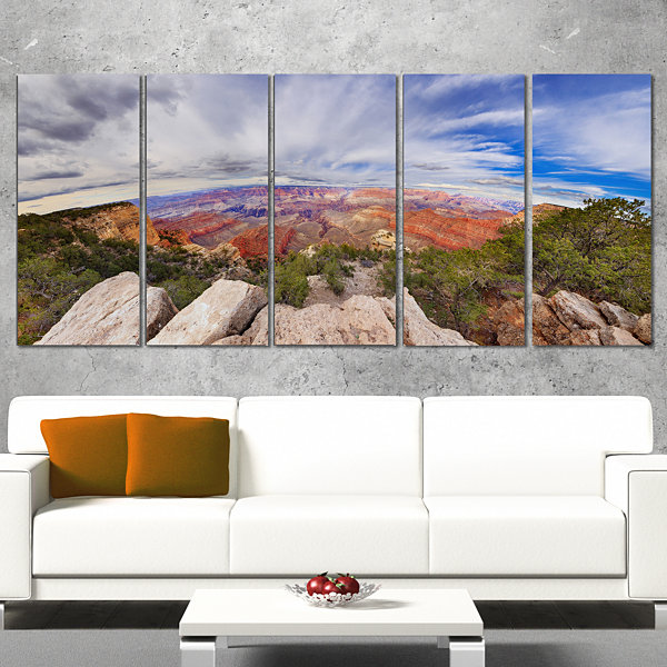 Designart Eye Looking At The Grand Canyon Landscape Canvas Art Print - 5 Panels