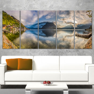 Designart Fabulous Mountain Lake In Alps LandscapePrint Wrapped Wall Artwork - 5 Panels