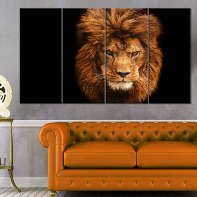Designart Face Of Male Lion On Black Abstract Canvas Art Print - 4 Panels