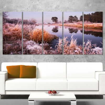 Fairy Autumn Dawn Panorama Landscape Print Wall Artwork - 4 Panels