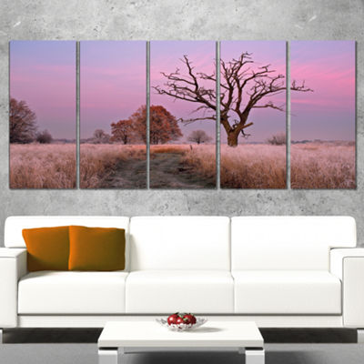 Designart Fairy Autumn Sunrise With Lonely Tree Landscape Print Wall Artwork - 4 Panels