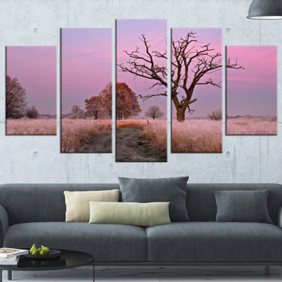 Designart Fairy Autumn Sunrise With Lonely Tree Landscape Print Wrapped Wall Artwork - 5 Panels