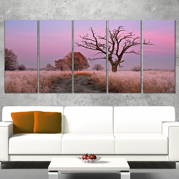 Designart Fairy Autumn Sunrise With Lonely Tree Landscape Print Wall Artwork - 5 Panels