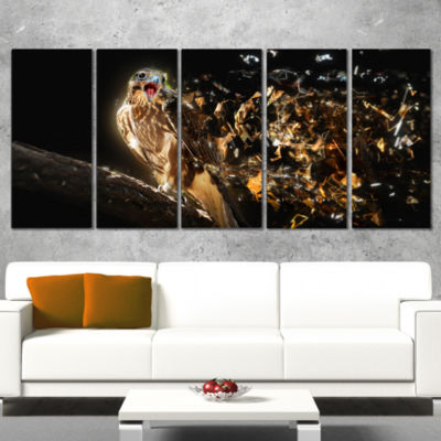 Designart Falcon With Open Beak Animal Canvas WallArt - 5 Panels