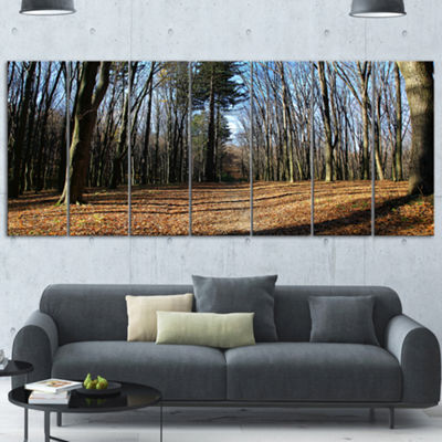 Designart Fall Forest In Sunlight And Shadows Modern ForestCanvas Art 6 Panels