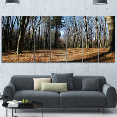 Fall Forest In Sunlight And Shadows Modern ForestCanvas Art 7 Panels