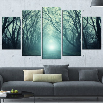 Designart Fall Forest Path With Green Light Landscape Photography Canvas Print - 5 Panels