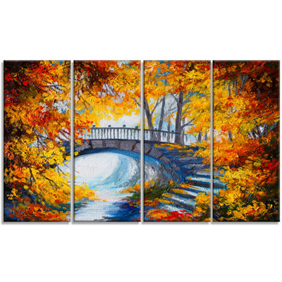 Designart Fall Forest With A Bridge Landscape ArtPrint Canvas - 4 Panels