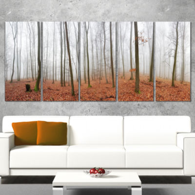 Designart Fall Forest With Trees At Mist OversizedForest Canvas Artwork - 4 Panels