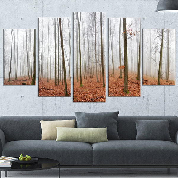 Designart Fall Forest With Trees At Mist OversizedForest Wrapped Canvas Artwork - 5 Panels