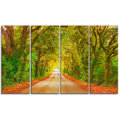 Designart Fall Greenery And Road Straight Ahead Oversized Forest Canvas Art - 4 Panels