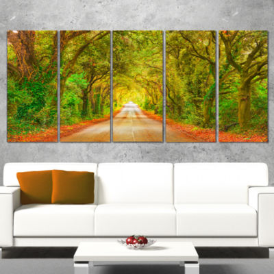 Fall Greenery And Road Straight Ahead Oversized Forest Wrapped Canvas Art - 5 Panels