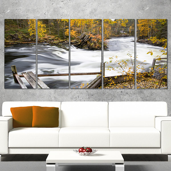 Fall River Over Riffles And Rocks Landscape Photography Canvas Print - 4 Panels