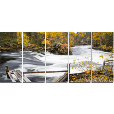 Designart Fall River Over Riffles And Rocks Landscape Photography Canvas Print - 5 Panels