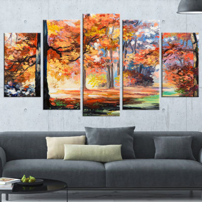 Designart Fall Trail In Forest Landscape Art PrintCanvas -5 Panels