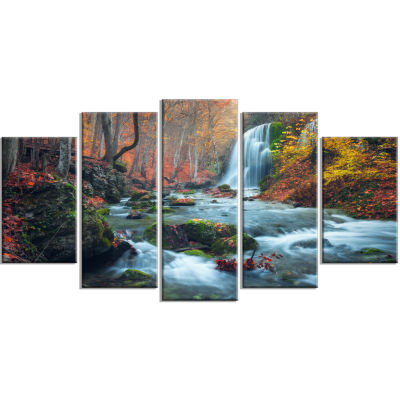 Fall Waterfall In Crimea Hills Landscape Photo Canvas Art Print - 4 Panels
