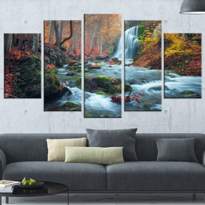 Designart Fall Waterfall In Crimea Hills LandscapePhoto Canvas Art Print - 5 Panels