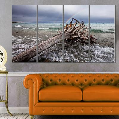Designart Fallen Tree In Storm At Seashore Seascape Canvas Art Print - 4 Panels