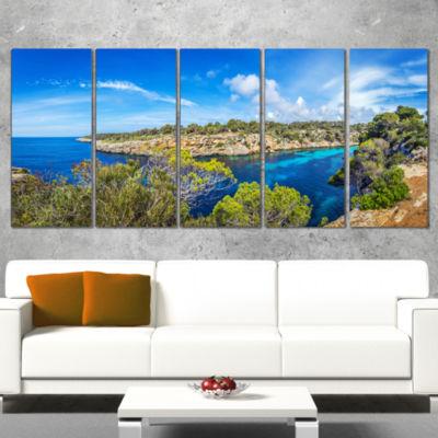 Designart Famous Cove Of Cala Pi Mallorca Large Seascape ArtCanvas Print - 5 Panels