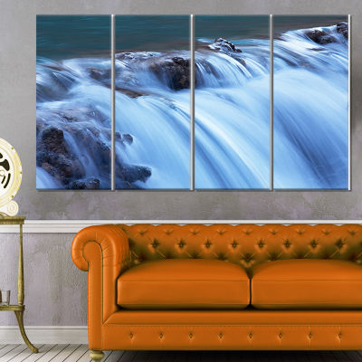 Fantastic Blue Water Cascade Extra Large LandscapeCanvas Art - 4 Panels