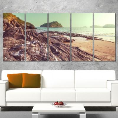Designart Fantastic Halong Bay Vietnam Large Seashore CanvasPrint - 5 Panels