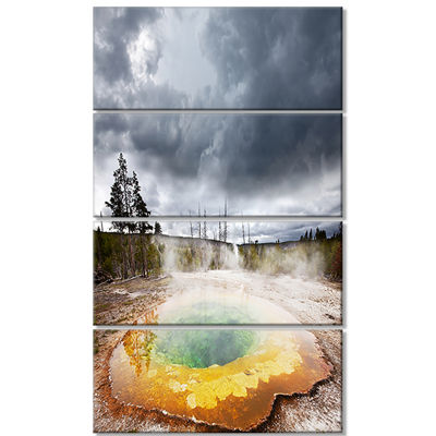 Designart Fantastic Morning Glory Pool Landscape Canvas ArtPrint - 4 Panels