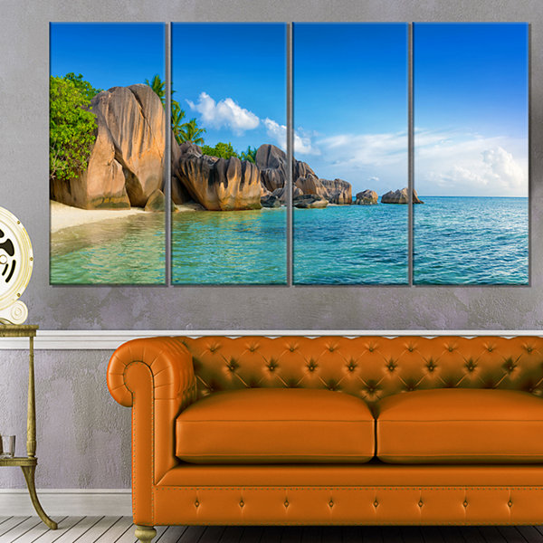 Designart Fantastic Seychelles Seashore Large Seascape Art Canvas Print - 4 Panels