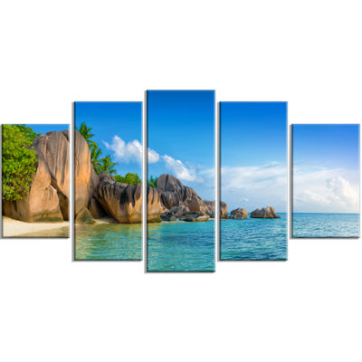 Designart Fantastic Seychelles Seashore Large Seascape Art Wrapped Canvas Print - 5 Panels