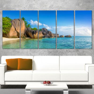 Designart Fantastic Seychelles Seashore Large Seascape Art Canvas Print - 5 Panels