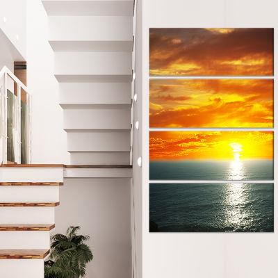 Designart Fantastic Sunset Over Sea Waters Large Seashore Canvas Print - 4 Panels