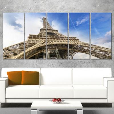 Designart Fantastic View Of Paris Paris Eiffel Towerfrom Ground Cityscape Wrapped Canvas Print - 5 Panels