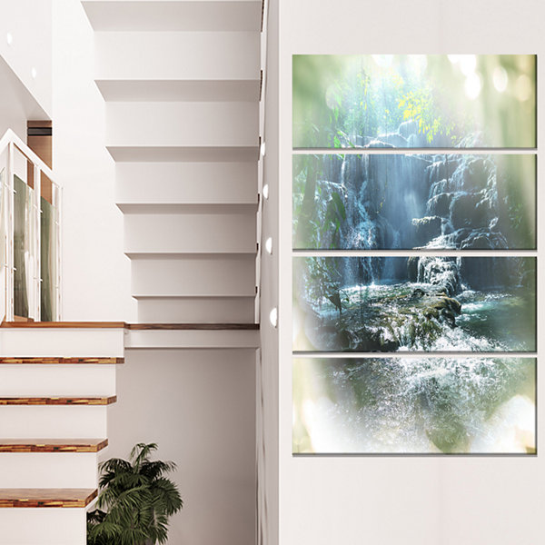 Designart Fantastic Waterfall In Mexico Jungle Oversized Landscape Canvas Art - 4 Panels