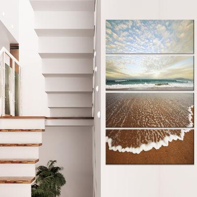 Designart Fantastic Waves And Clouds In Beach Large SeashoreCanvas Print - 4 Panels