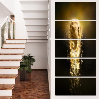 Designart Fantasy Elephant On Black Animal CanvasWall Art -5 Panels