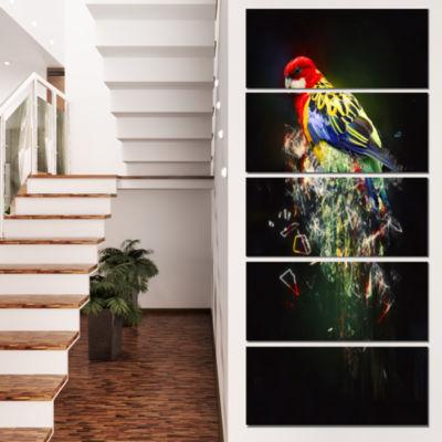 Fantasy Parrot On Branch Animal Canvas Wall Art -5 Panels