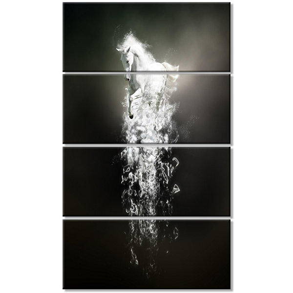 Designart Fantasy White Horse Running Animal Canvas Wall Art- 4 Panels