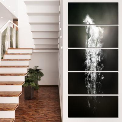 Designart Fantasy White Horse Running Animal Canvas Wall Art- 5 Panels