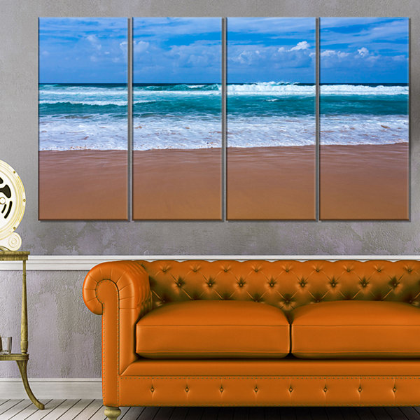 Designart Fascinating Atlantic Beach In Portugal Seascape Canvas Art Print - 4 Panels