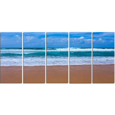 Fascinating Atlantic Beach In Portugal Seascape Canvas Art Print - 5 Panels