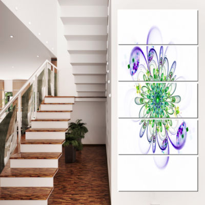 Designart Fascinating Green Purple Fractal FlowerFloral Canvas Art Print - 5 Panels