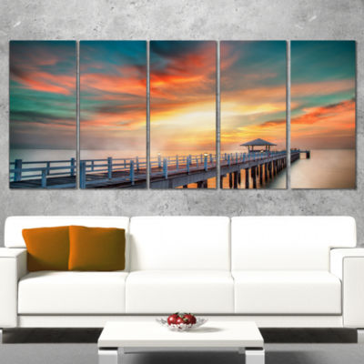 Designart Fascinating Sky And Wooden Bridge Pier Seascape Wrapped Canvas Art Print - 5 Panels