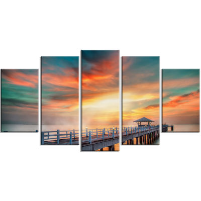 Fascinating Sky And Wooden Bridge Pier Seascape Wrapped Canvas Art Print - 5 Panels