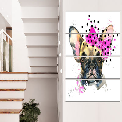 Designart Fashionable French Bulldog Animal CanvasWall Art- 4 Panels