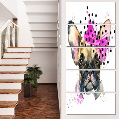 Designart Fashionable French Bulldog Animal CanvasWall Art- 5 Panels