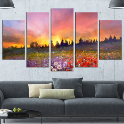 Field Of Poppy Dandelion And Daisy Large Floral Wrapped Canvas Artwork - 5 Panels