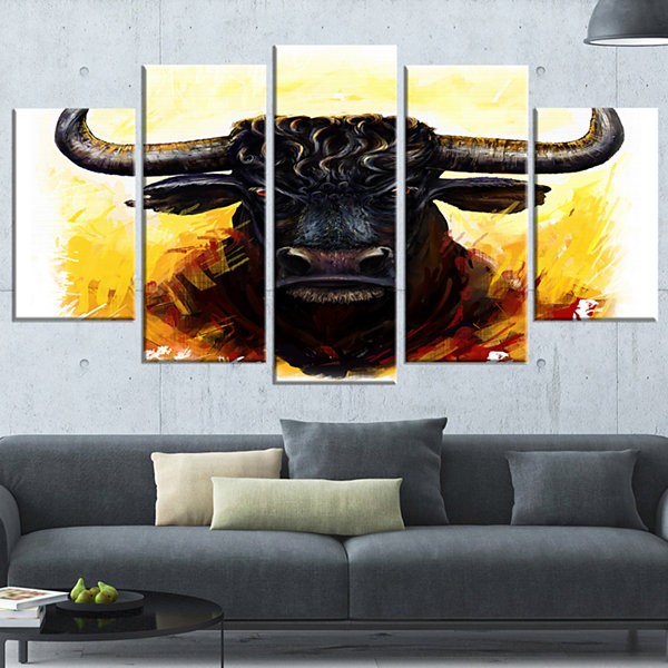 Designart Fierce Bull Illustration Animal Art On Canvas - 4Panels