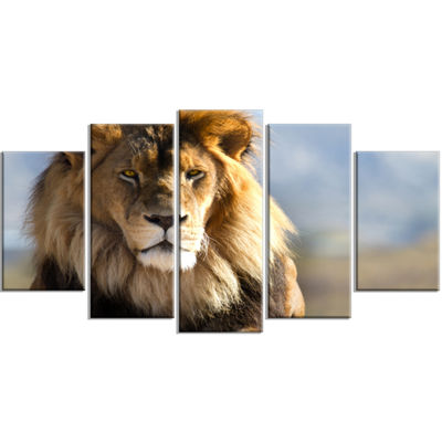 Designart Fierce Face Of King Of The Wild AfricanWrapped Canvas Art Print - 5 Panels